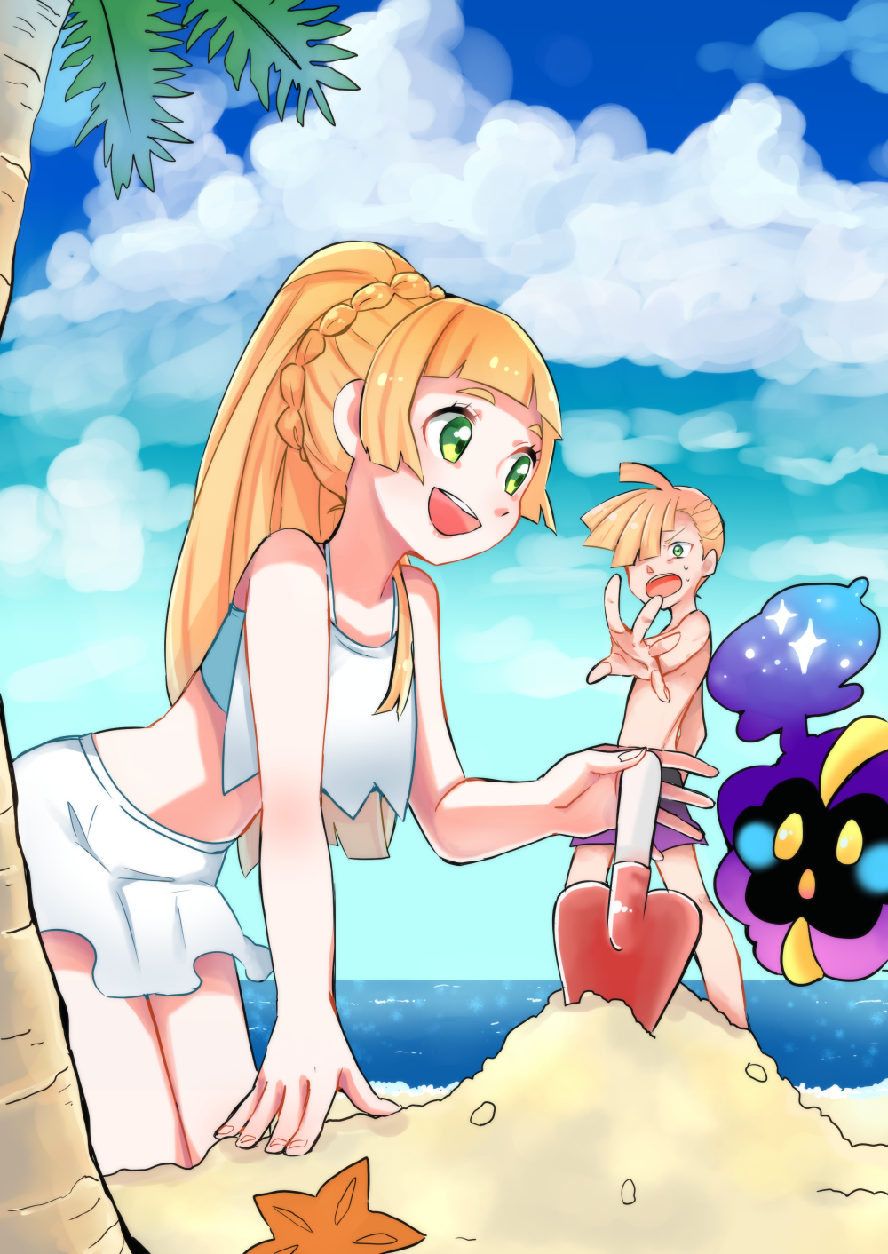 1boy 1girl beach blonde_hair braid brother_and_sister clouds cosmog french_braid gladio_(pokemon) green_eyes hetchhog_tw highres holding lillie_(pokemon) long_hair ocean outstretched_arm palm_tree pokemon pokemon_(game) pokemon_sm sand sand_castle sand_sculpture sarong sea_star shovel siblings smile swimsuit tree water worktool
