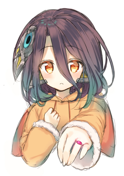 1girl :< bangs blush brown_eyes brown_hair closed_mouth commentary_request copyright_request eyebrows_visible_through_hair hair_between_eyes hair_ornament hood hood_down hooded_coat jewelry long_hair long_sleeves looking_at_viewer midorikawa_you orange_coat outstretched_arm ring simple_background sleeves_past_wrists solo white_background