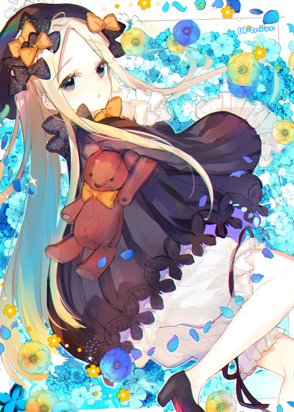 1girl abigail_williams_(fate/grand_order) atsumi_jun bangs black_bow black_dress black_footwear blonde_hair blush bow bubble_skirt dress eyebrows_visible_through_hair fate/grand_order fate_(series) grey_eyes hat high_heels long_hair long_sleeves looking_at_viewer orange_bow parted_bangs parted_lips signature skirt solo stuffed_animal stuffed_toy teddy_bear very_long_hair