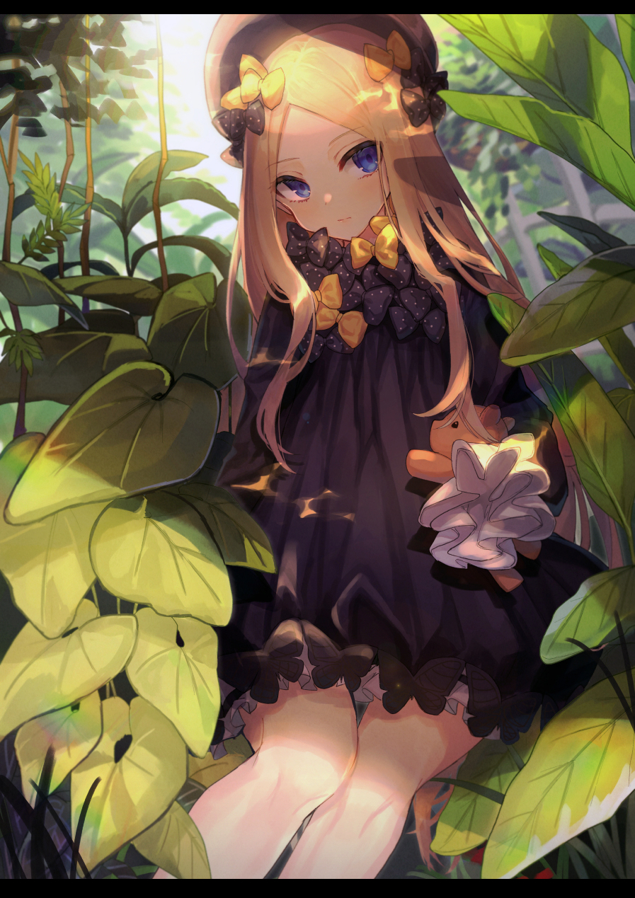 .com_(cu_105) 1girl abigail_williams_(fate/grand_order) bangs black_bow black_dress black_hat blonde_hair bloomers blue_eyes blush bow butterfly closed_mouth commentary_request day dress eyebrows_visible_through_hair fate/grand_order fate_(series) hair_bow hands_in_sleeves hat head_tilt highres leaf letterboxed long_sleeves looking_at_viewer nature object_hug orange_bow outdoors parted_bangs polka_dot polka_dot_bow sitting solo stuffed_animal stuffed_toy sunlight teddy_bear underwear white_bloomers