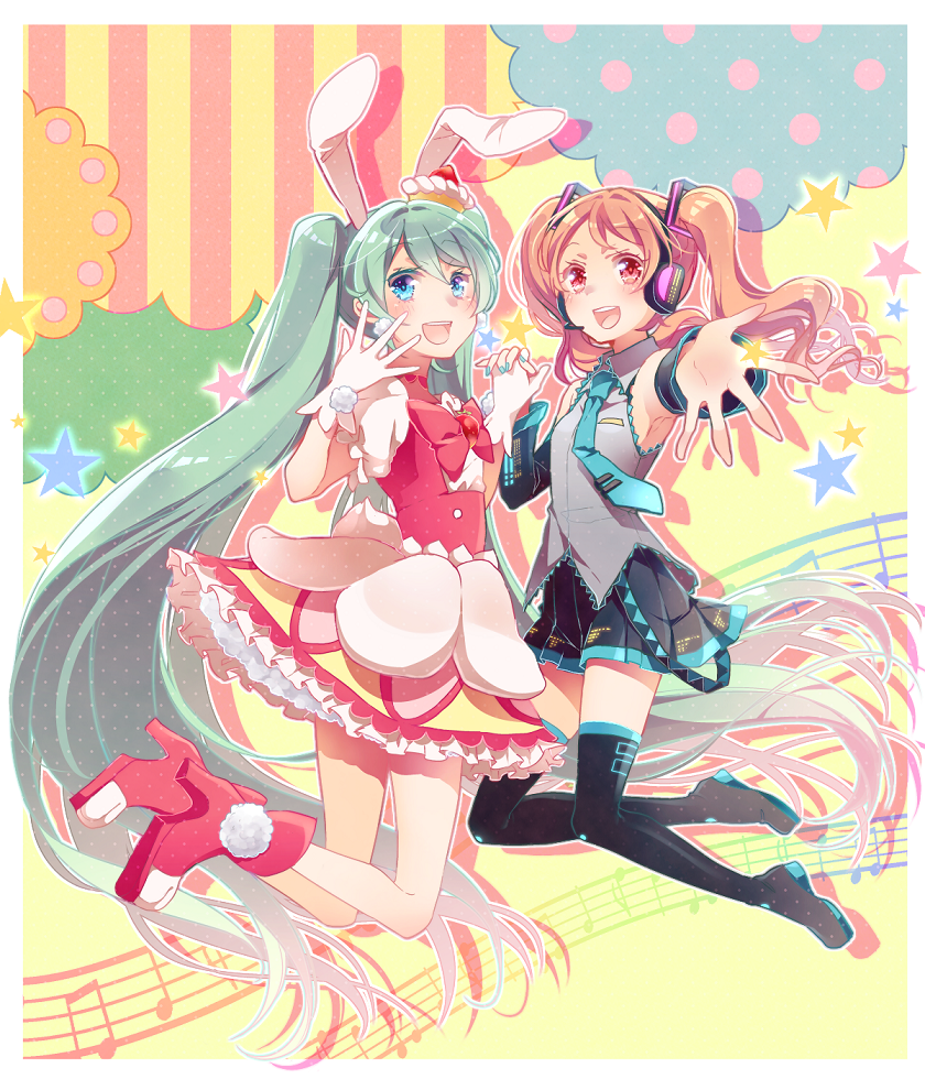 2girls :d animal_ears asagao_minoru black_footwear black_skirt blue_eyes blue_nails blue_neckwear boots brown_hair cake_hair_ornament colored_eyelashes cosplay costume_switch cure_whip cure_whip_(cosplay) dress extra_ears fingernails food_themed_hair_ornament full_body gloves gradient_hair green_hair hair_ornament hand_holding hatsune_miku hatsune_miku_(cosplay) kirakira_precure_a_la_mode long_hair looking_at_viewer multicolored multicolored_background multicolored_hair multiple_girls nail_polish necktie open_mouth pink_footwear pleated_skirt precure rabbit_ears red_eyes shirt shoes skirt sleeveless sleeveless_shirt smile thigh-highs thigh_boots twintails usami_ichika vocaloid white_dress white_gloves white_hair zettai_ryouiki