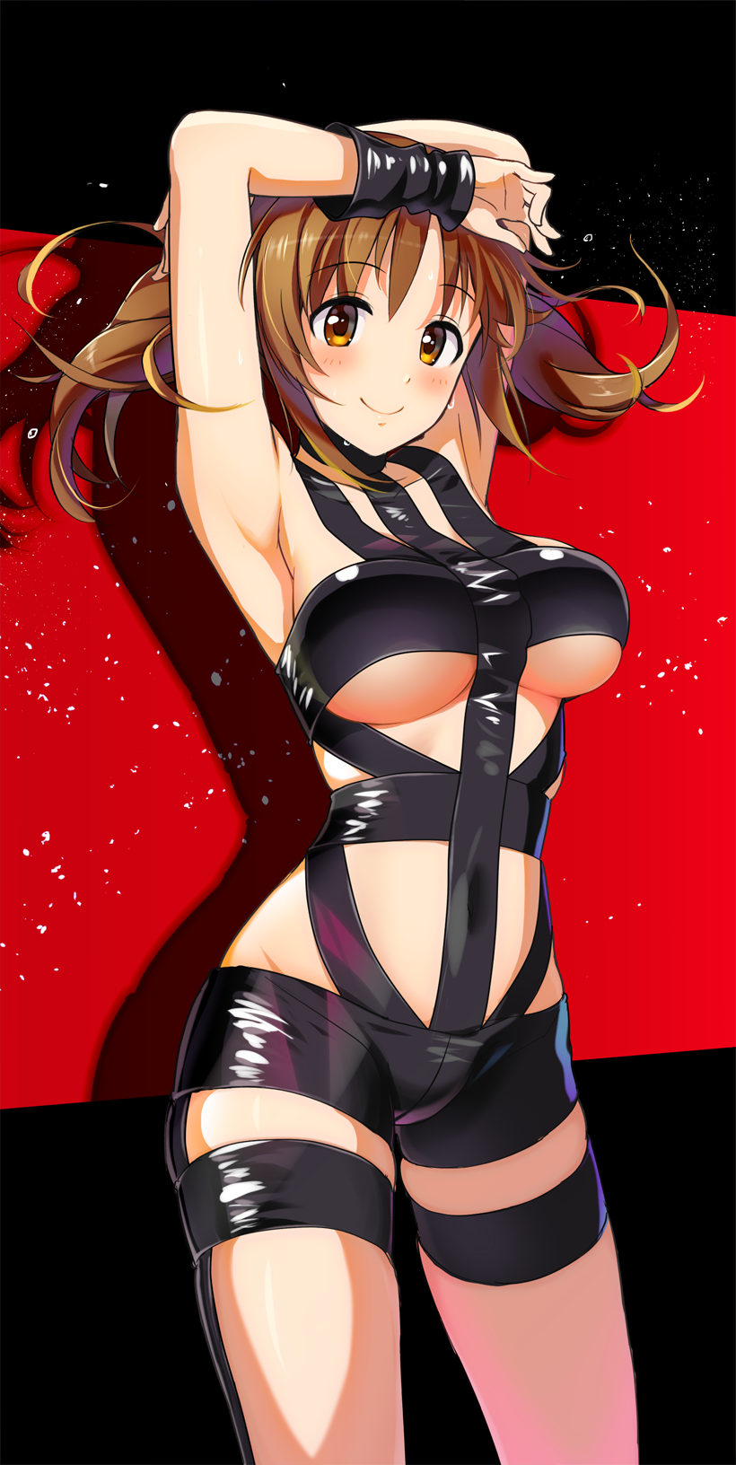 1girl armpits arms_up blush breasts brown_eyes brown_hair collarbone covered_navel highres hips hot_limit idolmaster idolmaster_cinderella_girls large_breasts long_hair looking_at_viewer natsuya revealing_clothes shadow smile solo sweat sweatdrop t.m.revolution thighs totoki_airi twintails under_boob waist wrist_cuffs