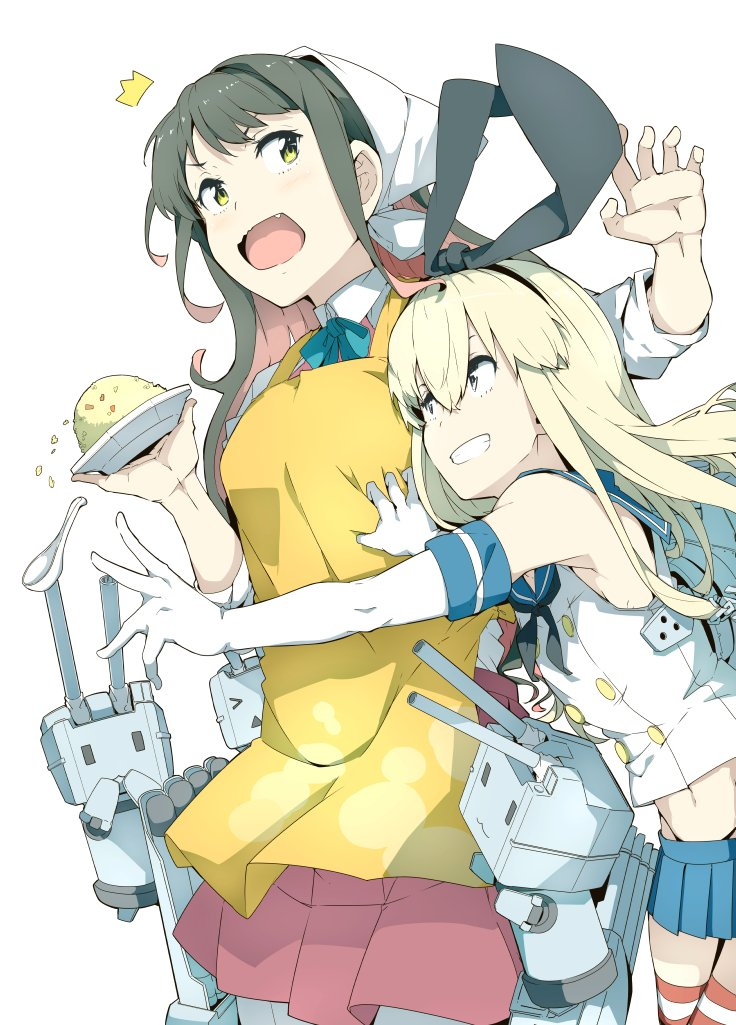 /\/\/\ 2girls animal_ears apron bangs black_hair blonde_hair blue_skirt bow bowtie cowboy_shot crop_top detached_sleeves elbow_gloves fangs food fried_rice gloves grabbing grabbing_from_behind grey_eyes hair_between_eyes hairband hand_up kantai_collection long_hair looking_back looking_up miniskirt multicolored_hair multiple_girls naganami_(kantai_collection) ninimo_nimo open_mouth outstretched_arm pantyhose pink_hair rabbit_ears rensouhou-chan ribbon school_uniform serafuku shimakaze_(kantai_collection) shirt skirt smile spoon standing striped striped_legwear surprised thigh-highs thong turret two-tone_hair white_background white_gloves white_shirt yellow_eyes