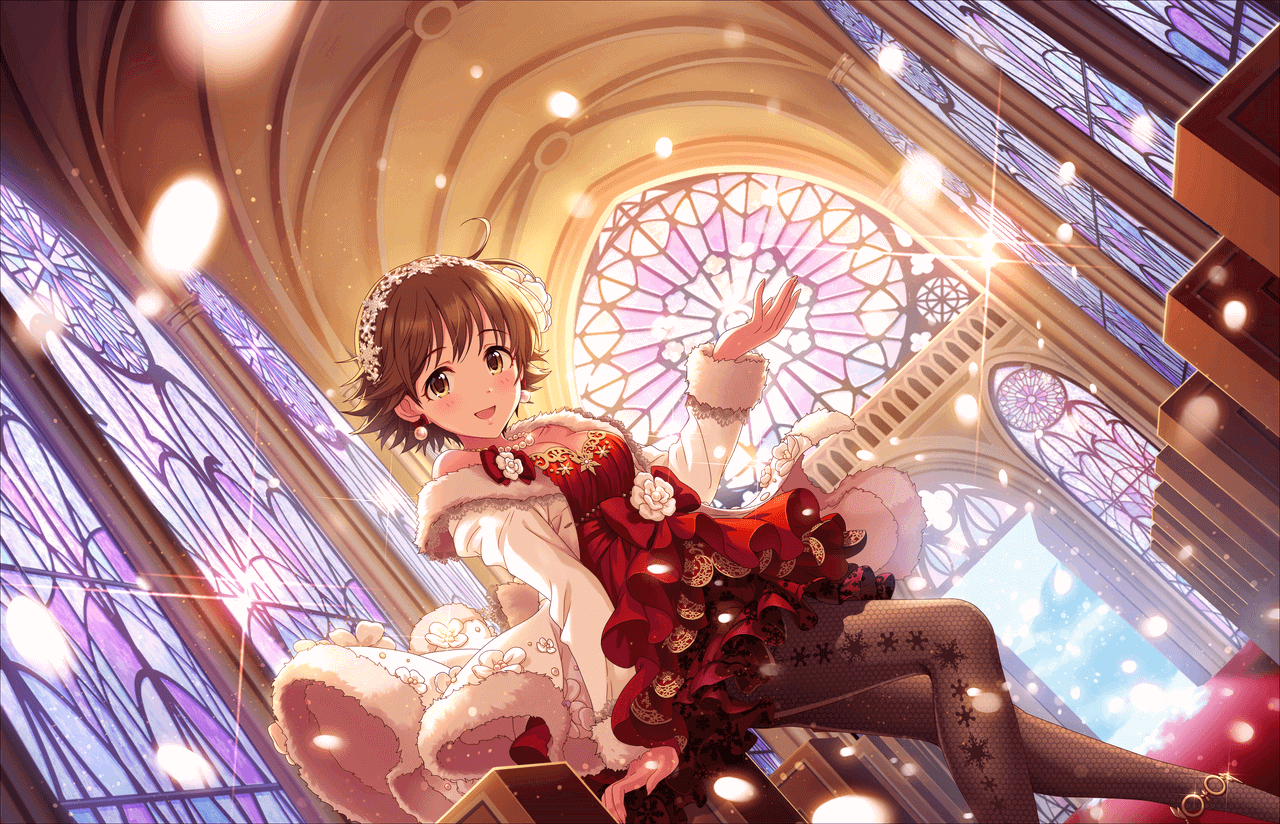 1girl ahoge brown_eyes brown_hair church coat dress earrings fishnet_pantyhose fishnets honda_mio idolmaster idolmaster_cinderella_girls idolmaster_cinderella_girls_starlight_stage jewelry necklace official_art pantyhose pearl_earrings pearl_necklace red_dress short_hair snowing white_coat winter_clothes winter_coat