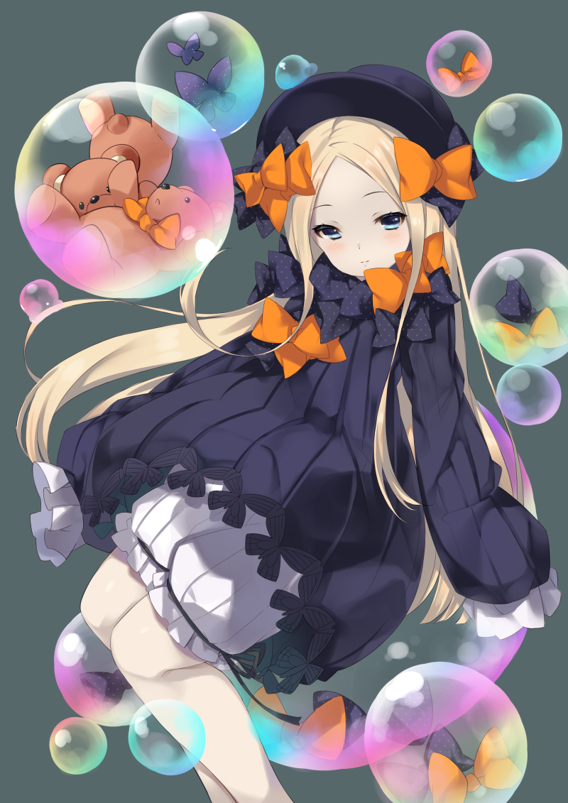 1girl abigail_williams_(fate/grand_order) bangs black_bow black_dress black_hat blonde_hair bloomers blue_eyes blush bow bubble butterfly closed_mouth commentary_request dress fate/grand_order fate_(series) hair_bow hands_in_sleeves hat light_smile long_sleeves looking_at_viewer mayuzaki_yuu orange_bow parted_bangs polka_dot polka_dot_bow solo stuffed_animal stuffed_toy teddy_bear underwear white_bloomers