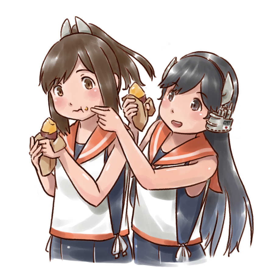 2girls black_hair brown_eyes brown_hair eating food food_on_face headgear i-400_(kantai_collection) i-401_(kantai_collection) kantai_collection karasu_(naoshow357) long_hair multiple_girls one-piece_tan orange_sailor_collar ponytail sailor_collar sailor_shirt school_swimsuit shirt short_hair short_ponytail simple_background sleeveless sleeveless_shirt sweet_potato swimsuit tan tanline upper_body white_background