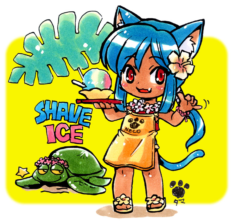 1girl animal animal_ears apron blue_hair bracelet cat_ears cat_tail dessert english fern flip-flops flower food hair_flower hair_ornament hibiscus holding holding_tray jewelry lei original paw_print ponytail red_eyes sandals shaka_sign shaved_ice smile star tail tamami_masa tan tray turtle yellow_background