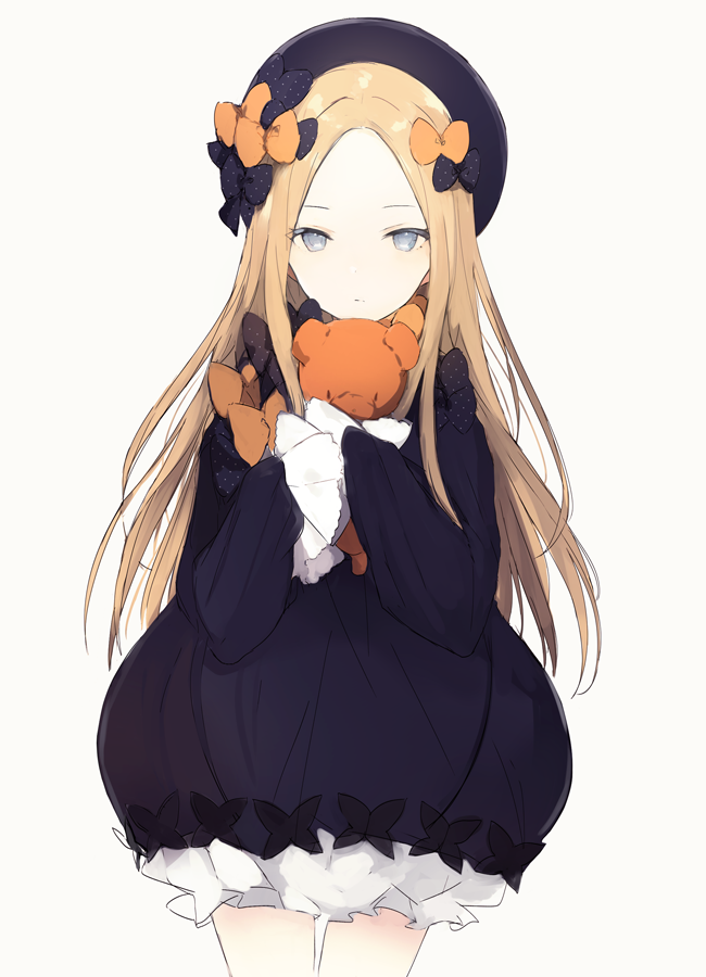 1girl abigail_williams_(fate/grand_order) black_bow blonde_hair bow dress fate/grand_order fate_(series) frilled_dress frilled_sleeves frills grey_eyes hair_bow hat long_hair looking_at_viewer lpip orange_bow purple_dress simple_background solo stuffed_animal stuffed_toy teddy_bear top_hat white_background