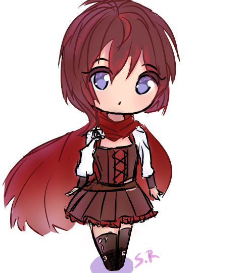 1girl :o black_hair blue_eyes chibi deviantart dress ruby_rose rwby scarf short_hair solo sweetrosaly white_background