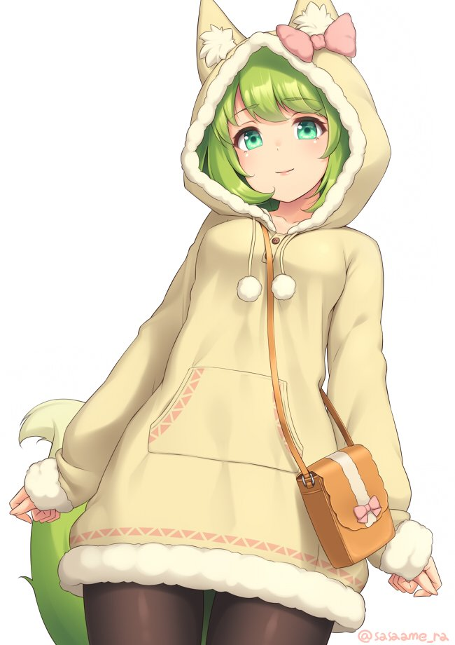1girl animal_ears arms_at_sides bag black_legwear bow closed_mouth commentary_request cowboy_shot eyebrows_visible_through_hair fox_ears fox_girl fox_tail fur_trim green_eyes green_hair handbag head_tilt hood hood_up hoodie looking_at_viewer original pink_bow pom_pom_(clothes) sasaame simple_background solo tail twitter_username white_background