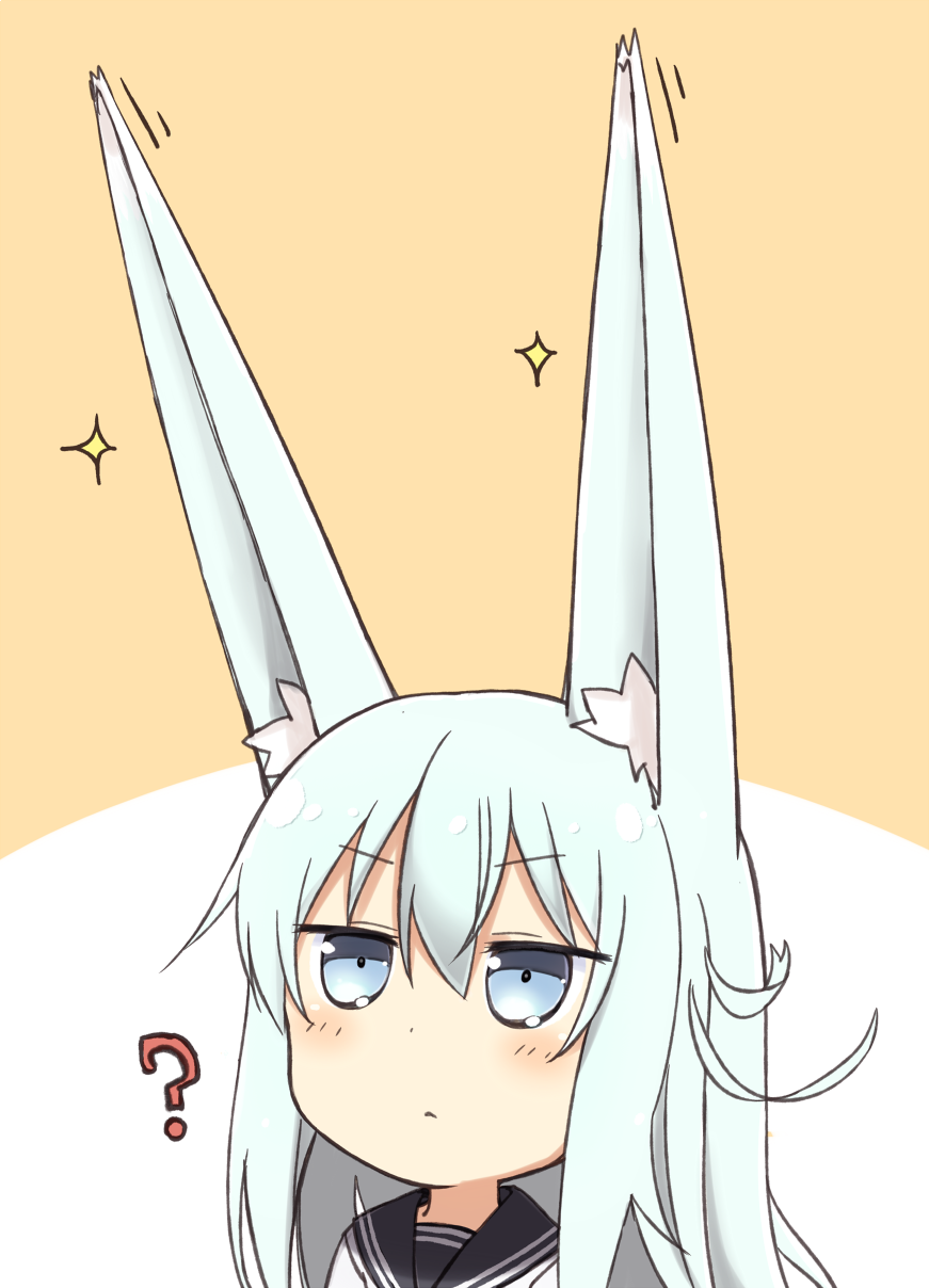 1girl ? animal_ears blue_eyes blue_hair blush chibi closed_mouth ear_wiggle expressionless eyebrows eyebrows_visible_through_hair fox_ears hair_between_eyes hibiki_(kantai_collection) highres jitome kantai_collection kemonomimi_mode long_hair looking_up motion_lines nonono_(mino) pokemon pokemon_(game) pokemon_ears pokemon_sm school_uniform serafuku solo sparkle two-tone_background upper_body very_long_ears