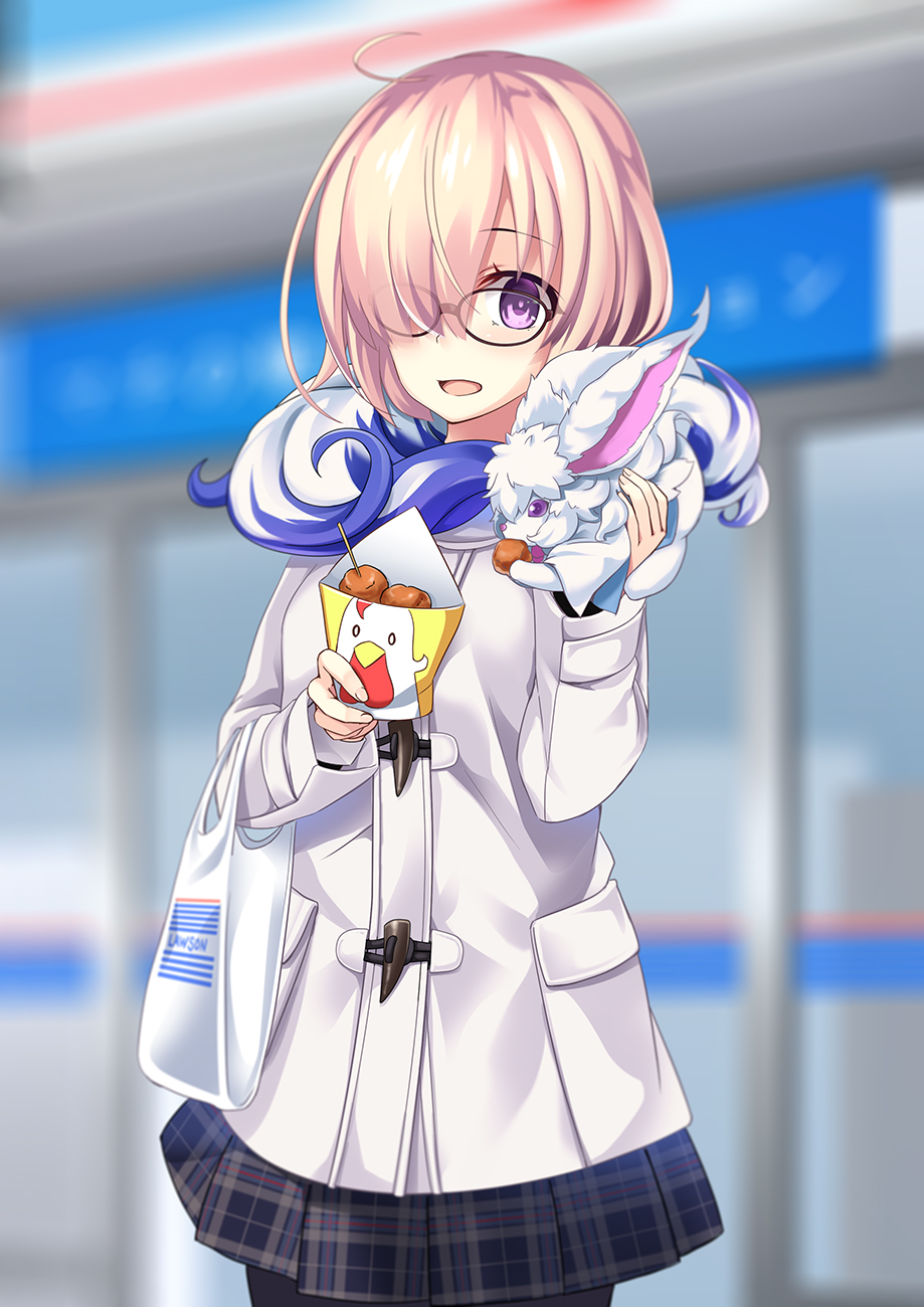 1girl :d ahoge animal animal_on_shoulder black_legwear black_skirt cowboy_shot fate/grand_order fate_(series) food fou_(fate/grand_order) glasses_visible_through_hair hair_over_one_eye highres holding holding_food mash_kyrielight miniskirt open_mouth pantyhose pink_hair pleated_skirt short_hair skirt smile solo standing violet_eyes wapokichi white_coat