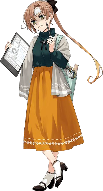 1girl akigumo_(kantai_collection) alternate_costume bag book brown_hair fujikawa full_body hair_ribbon kantai_collection long_skirt official_art ribbon shaded_face side_ponytail skirt stylus tablet_pc thinking transparent_background yellow_eyes