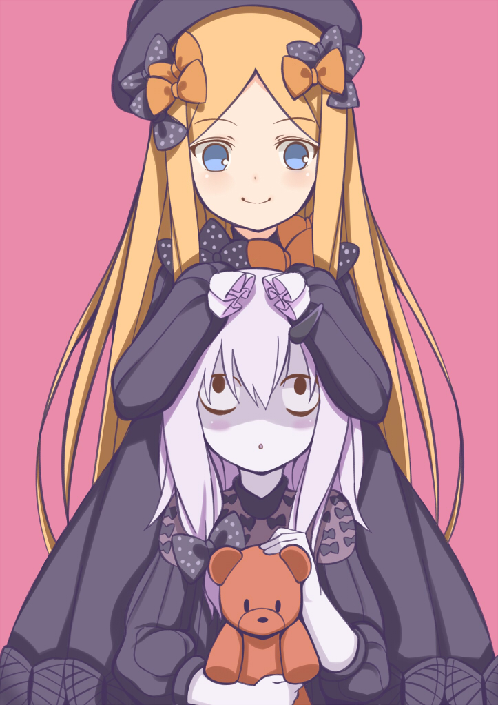 2girls :o abigail_williams_(fate/grand_order) bangs black_bow black_dress black_hat blonde_hair blue_eyes bow butterfly closed_mouth commentary_request dress eyebrows_visible_through_hair fate/grand_order fate_(series) hair_bow hands_in_sleeves hands_on_another's_head hat lavinia_whateley_(fate/grand_order) long_hair long_sleeves looking_at_another looking_at_viewer looking_up multiple_girls object_hug orange_bow parted_bangs parted_lips pink_background polka_dot polka_dot_bow shaded_face simple_background smile stuffed_animal stuffed_toy teddy_bear toshishikisai very_long_hair white_hair wide-eyed