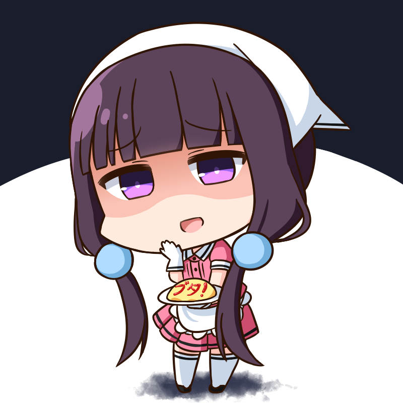 1girl :d bangs black_background black_footwear blend_s blunt_bangs chibi collared_shirt commentary_request eyebrows_visible_through_hair food full_body gloves hair_ornament hana_kazari hand_to_own_mouth head_scarf holding holding_plate leaning_to_the_side looking_at_viewer low_twintails omurice open_mouth pink_shirt pink_skirt plate pleated_skirt puffy_short_sleeves puffy_sleeves sakuranomiya_maika shaded_face shirt shoes short_sleeves skirt smile solo standing stile_uniform thigh-highs translation_request twintails two-tone_background uniform violet_eyes waitress white_background white_gloves white_legwear