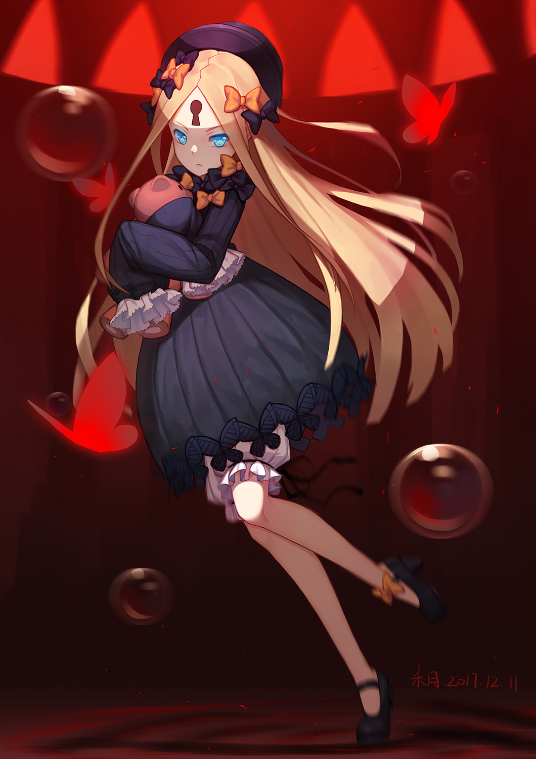 1girl abigail_williams_(fate/grand_order) bangs black_bow black_dress black_footwear black_hat blonde_hair bloomers blue_eyes bow bubble butterfly closed_mouth commentary_request dated dress fate/grand_order fate_(series) hair_bow hands_in_sleeves hat high_heels highres keyhole long_hair long_sleeves looking_at_viewer looking_to_the_side mary_janes object_hug orange_bow parted_bangs polka_dot polka_dot_bow shoes solo standing standing_on_one_leg stuffed_animal stuffed_toy teddy_bear tiptoes ttheyue underwear v-shaped_eyebrows very_long_hair white_bloomers