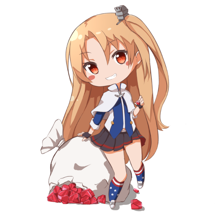 1girl ame. arm_support azur_lane bangs black_gloves black_skirt blue_legwear blue_shirt blush_stickers brown_eyes capelet chibi cleveland_(azur_lane) commentary_request eyebrows_visible_through_hair fingerless_gloves full_body gloves grin hair_between_eyes head_tilt holding kneehighs light_brown_hair long_hair long_sleeves looking_at_viewer one_side_up pleated_skirt print_legwear ruby_(stone) sack shirt shoes simple_background skirt smile solo standing standing_on_one_leg star star_print torn_sack very_long_hair white_background white_capelet white_footwear