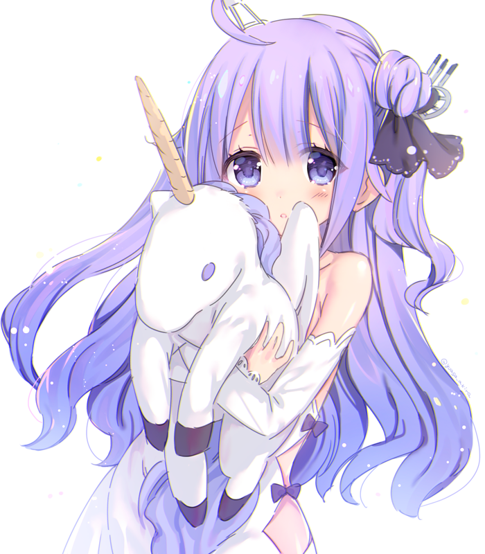 1girl ahoge azur_lane bangs bare_shoulders black_bow black_ribbon blush bow commentary_request detached_sleeves dress eyebrows_visible_through_hair hair_between_eyes hair_bun hair_ornament hair_ribbon long_sleeves looking_at_viewer object_hug one_side_up parted_lips purple_hair ribbon side_bun simple_background sleeves_past_wrists solo stuffed_animal stuffed_pegasus stuffed_toy stuffed_unicorn unicorn_(azur_lane) violet_eyes white_background white_dress yuasa_akira
