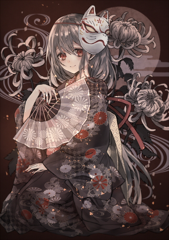 1girl bangs black_kimono blurry blush closed_mouth depth_of_field embers eyebrows_visible_through_hair fan floral_background floral_print flower folding_fan fox_mask grey_hair hair_between_eyes hand_up japanese_clothes kimono long_hair looking_at_viewer mask moco_315 obi original red_eyes sash seiza sitting smile solo spider_lily tareme