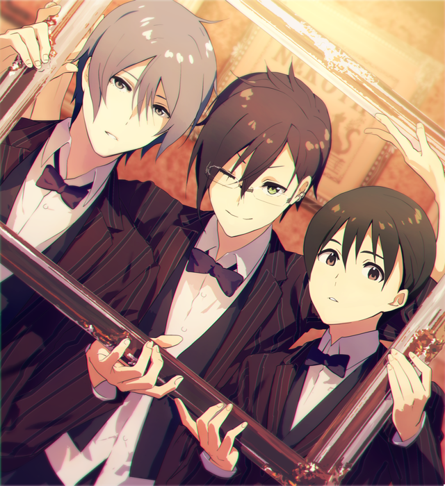 3boys black_hair brown_eyes ear_piercing expressionless formal frame fuyumi_jun glasses green_eyes grey_hair holding idolmaster idolmaster_side-m iseya_shiki male_focus map_(map_imas) multiple_boys piercing sakaki_natsuki short_hair smile suit