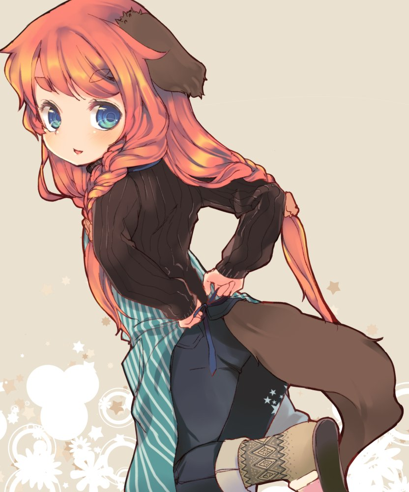 1girl animal_ears apron arms_behind_back azuki_akizuki black_sweater blue_eyes braid brown_hair dog_ears dog_tail from_behind leg_lift long_hair looking_back open_mouth original pants slippers socks solo standing standing_on_one_leg sweater tail twin_braids tying