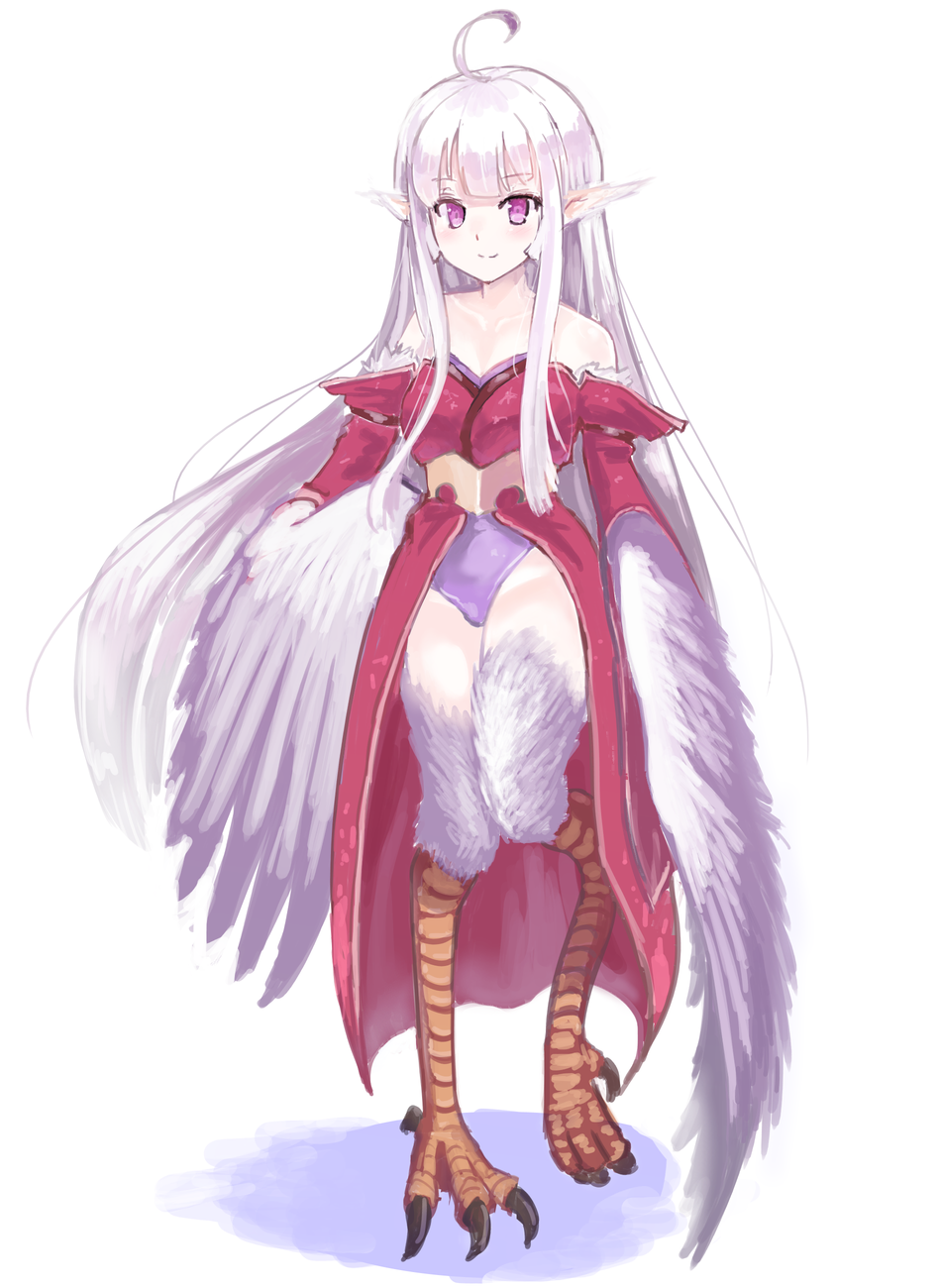 1girl ahoge bangs bare_shoulders blunt_bangs claws commentary_request detached_sleeves eyebrows_visible_through_hair feathered_wings feathers full_body harpy highres japanese_clothes kimono leotard long_hair looking_at_viewer monster_girl original purple_leotard silver_hair simple_background smile solo standing standing_on_one_leg tk2k_jade violet_eyes white_background wings