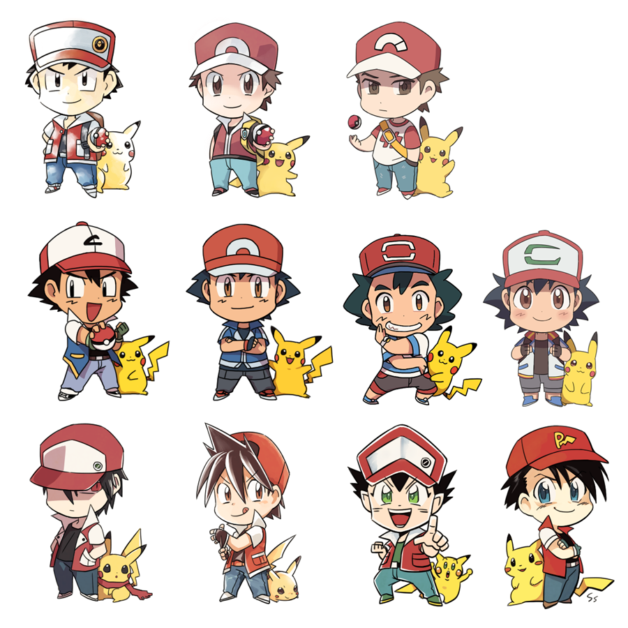 6+boys male_focus multiple_boys multiple_persona pikachu pokemon pokemon_(anime) pokemon_special red_(pokemon) red_(pokemon)_(classic) red_(pokemon)_(remake) red_(pokemon)_(sm) satoshi_(pokemon) satoshi_(pokemon)_(classic) ssalbulre