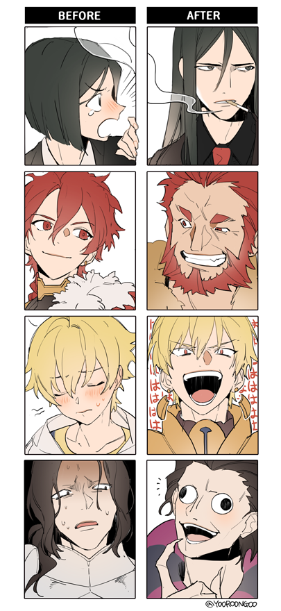 4boys alexander_(fate/grand_order) armor bangs beard black_hair blonde_hair bob_cut braid caster_(fate/zero) child_gilgamesh cigar comparison dual_persona facial_hair fate/grand_order fate/zero fate_(series) gilgamesh gilles_de_rais_(fate/grand_order) leather long_hair looking_at_viewer lord_el-melloi_ii multiple_boys older open_mouth parted_bangs red_eyes redhead rider_(fate/zero) shaded_face short_hair smile time_paradox waver_velvet yooroongoo younger