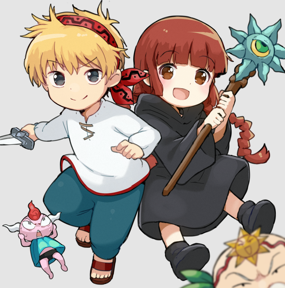 1girl 2boys :d bandanna bangs black_footwear black_robe blonde_hair blue_pants blunt_bangs blurry blurry_foreground blush boots braid brown_eyes brown_footwear brown_hair commentary_request dagger depth_of_field eyebrows_visible_through_hair facial_hair fundoshi gipple_(mahoujin_guruguru) grey_eyes hands_on_own_head haruken holding holding_dagger holding_staff japanese_clothes kotori_photobomb kukuri_(mahoujin_guruguru) leaf long_hair long_sleeves looking_at_viewer low_twintails mahoujin_guruguru multiple_boys mustache nike_(mahoujin_guruguru) old_man open_mouth pants pink_skin robe sandals shirt smile staff sweat twin_braids twintails udberg_eldol very_long_hair weapon white_shirt wide_sleeves