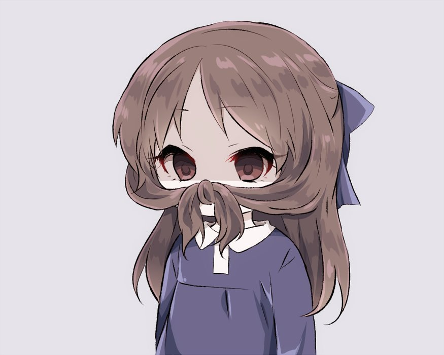 1girl bangs blue_bow blue_shirt bow brown_eyes brown_hair collared_shirt commentary_request empty_eyes eyebrows_visible_through_hair fake_mustache grey_background hair_bow idolmaster idolmaster_cinderella_girls long_hair looking_away shaded_face shirt simple_background solo tachibana_arisu tied_hair upper_body yumeno_(rubbercup)