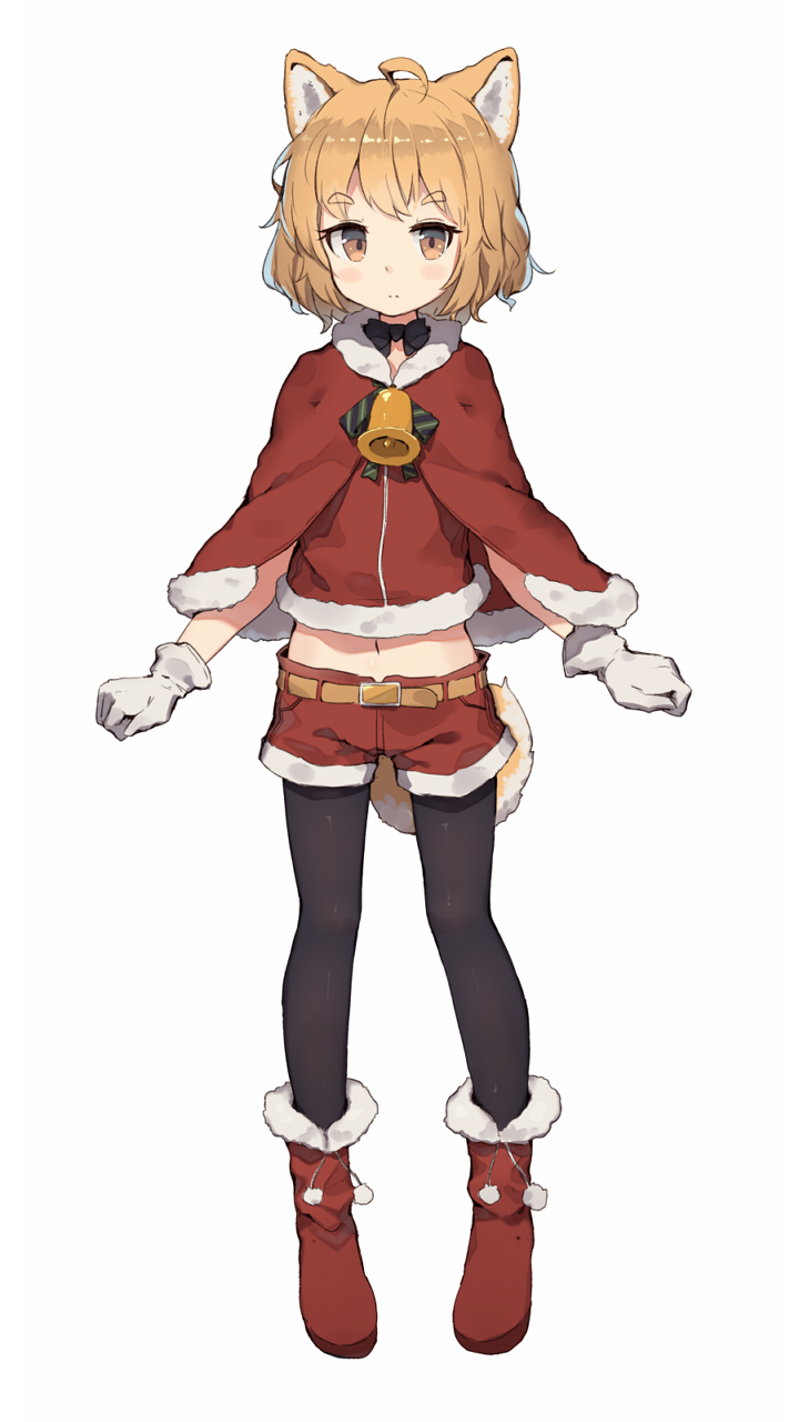 1girl ahoge animal_ears bell belt black_legwear black_neckwear boots bow brown_eyes capelet dog_ears dog_girl dog_tail eyebrows_visible_through_hair full_body fur-trimmed_boots fur-trimmed_capelet fur-trimmed_shirt fur-trimmed_shorts fur_trim gloves highres light_brown_hair looking_at_viewer medium_hair midriff navel original pantyhose pantyhose_under_shorts pom_pom_(clothes) red_capelet red_footwear red_shirt red_shorts santa_costume shiba_inu shirt shone short_shorts shorts simple_background solo tail white_background white_gloves