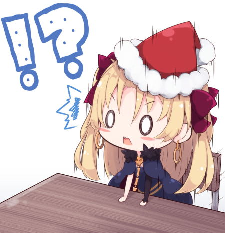 !? /\/\/\ 0_0 1girl arm_support bangs beni_shake blonde_hair blue_cape blue_dress blush_stickers bow cape chair chibi commentary_request dress ereshkigal_(fate/grand_order) eyebrows_visible_through_hair fate/grand_order fate_(series) fur-trimmed_cape fur-trimmed_hat fur_trim hair_between_eyes hair_bow hat long_hair long_sleeves lowres purple_bow red_hat santa_hat single_sleeve skull solo table tohsaka_rin two_side_up v-shaped_eyebrows white_background