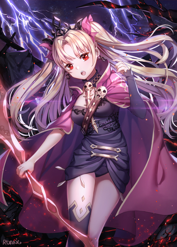 1girl :o artist_name bangs black_dress black_legwear black_leotard blonde_hair breasts cloak dress earrings embers ereshkigal_(fate/grand_order) eyebrows_visible_through_hair fate/grand_order fate_(series) floating_hair glowing glowing_weapon gold_trim hair_ribbon hand_up holding holding_weapon hoop_earrings jewelry legs_together leotard light_particles lightning long_hair looking_at_viewer medium_breasts night night_sky open_mouth parted_bangs pink_cloak pink_ribbon red_eyes ribbon roang shiny shiny_hair short_dress signature single_sleeve single_thighhigh skull sky solo sparks standing thigh-highs tiara tohsaka_rin two_side_up v-shaped_eyebrows very_long_hair weapon