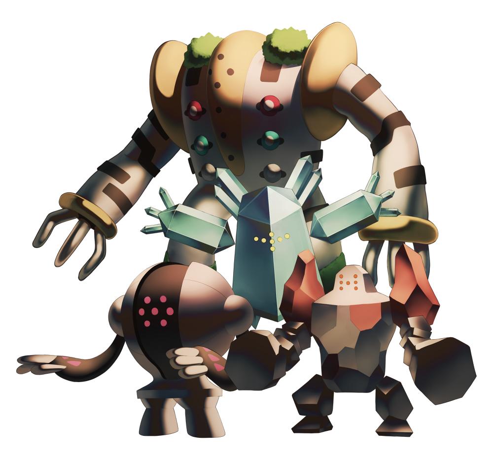 commentary_request facing_viewer harau no_humans pokemon pokemon_(creature) regice regigigas regirock registeel simple_background standing white_background