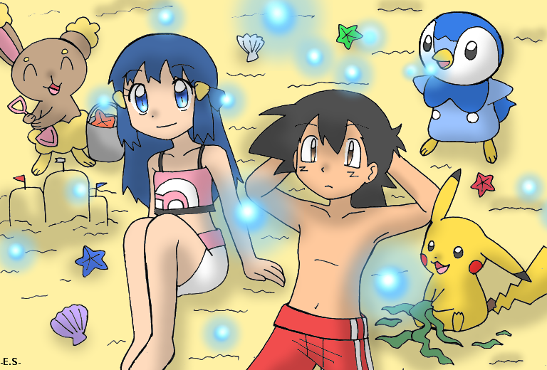 1boy 1girl :) :l animal beach bikini black_eyes black_hair blue_eyes blue_hair buneary deviantart endless-rainfall hikari_(pokemon) looking_up mouse penguin pikachu piplup pokemon rabbit sand sandcastle satoshi_(pokemon) shovel swim_trunks