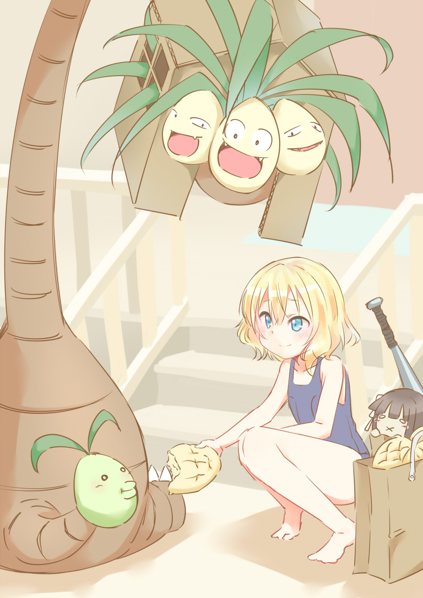 1girl :x alolan_exeggutor aluminum_bat bad_feet bag bangs barefoot black_hair blonde_hair blue_eyes blunt_bangs blush bread cardboard character_doll closed_mouth collarbone day eyebrows_visible_through_hair feeding flat_chest flower food gochuumon_wa_usagi_desu_ka? hair_between_eyes hair_flower hair_ornament hetareeji highres holding holding_food kirima_sharo knees_together_feet_apart looking_at_viewer melon_bread one-piece_swimsuit outdoors pokemon_(creature) school_swimsuit shopping_bag short_hair siting smile solid_oval_eyes squatting stairs swimsuit ujimatsu_chiya wavy_hair white_flower