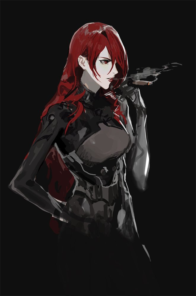 1girl bad_id bad_twitter_id black_background bodysuit cigar hair_over_one_eye hand_on_hip kirijou_mitsuru long_hair persona persona_3 persona_4:_the_ultimate_in_mayonaka_arena profile red_eyes red_hair redhead rr_(suisse200) smoking solo