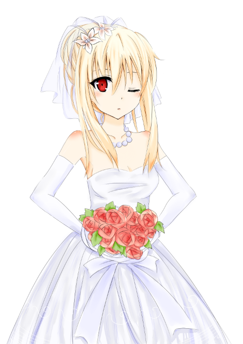 10s 1girl blonde_hair flower gloves jewelry lips looking_at_viewer pixiv red_eyes sakura-sou_no_pet_na_kanojo shiina_mashiro solo wedding wedding_dress white_background white_dress wink yuzumi_030