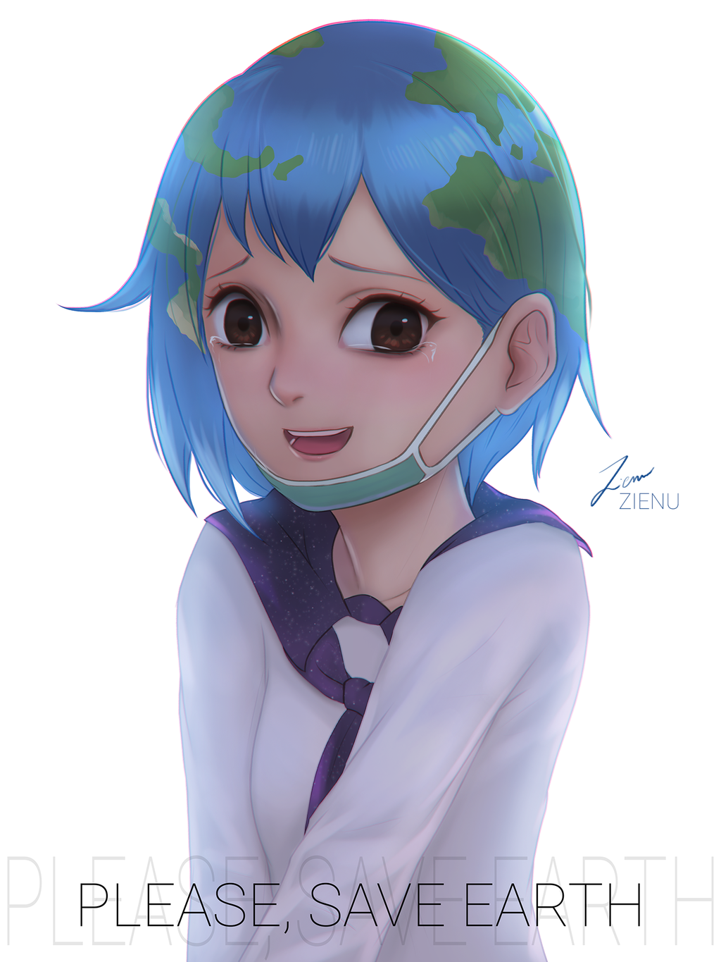 1girl brown_eyes crying deviantart earth earth-chan gijinka lips looking_at_viewer mouthwash open_mouth original planet school_uniform smile solo solo_focus white_background zienu