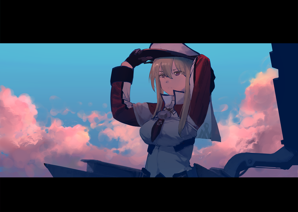 1girl adjusting_clothes adjusting_hat blonde_hair blue_sky breasts capelet clouds fujibejifu gloves graf_zeppelin_(kantai_collection) grey_eyes hair_between_eyes hat jacket kantai_collection long_hair long_sleeves peaked_cap rigging sidelocks sky solo twintails
