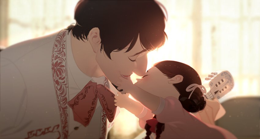 1boy 1girl coco_(disney) father_and_daughter guitar hector_(coco) instrument mama_coco mariachi music p0ckylo playing_instrument spoilers younger