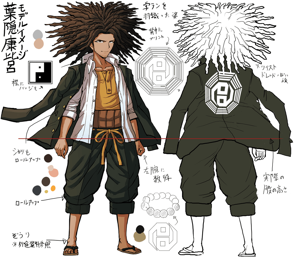 1boy brown_eyes brown_hair character_sheet collarbone color_guide concept_art crystal_ball danganronpa danganronpa_1 facial_hair flip-flops full_body hagakure_yasuhiro hairlocs jacket_on_shoulders komatsuzaki_rui long_hair looking_at_viewer male_focus official_art pants reference_sheet sandals school_uniform shirt simple_background sketch standing stubble translation_request white_background white_shirt