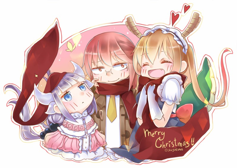 -_- 10s 3girls :< :) :d blue_eyes blush butterfly christmas closed_eyes closed_mouth dress fang glasses happy heart jacket kanna_kamui kobayashi-san_chi_no_maidragon kobayashi_(maidragon) lavender_hair looking_at_another looking_up maid maid_dress necktie open_mouth orange_hair pixiv red_hair scarf siu_sheung smile tooru_(maidragon) twintails uniform yellow_eyes