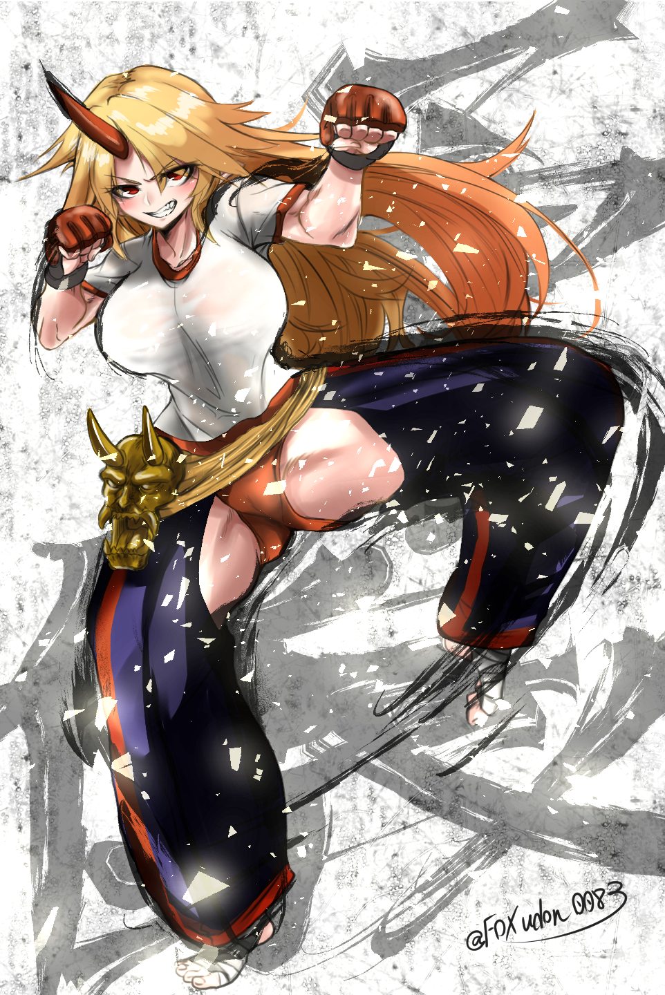 1girl blonde_hair breasts buruma chaps clenched_hands clenched_teeth fox_udon full_body gym_shirt highres horn hoshiguma_yuugi kicking large_breasts long_hair looking_at_viewer red_eyes shirt short_sleeves smile solo standing standing_on_one_leg teeth thighs touhou twitter_username very_long_hair