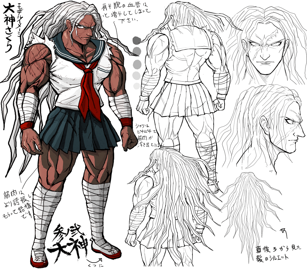 1girl androgynous bandage blue_eyes character_sheet concept_art danganronpa danganronpa_1 dark_skin expressions full_body komatsuzaki_rui lineart long_hair looking_at_viewer multiple_views muscle muscular_female official_art oogami_sakura pleated_skirt scar school_uniform serafuku shoes simple_background skirt translation_request white_hair