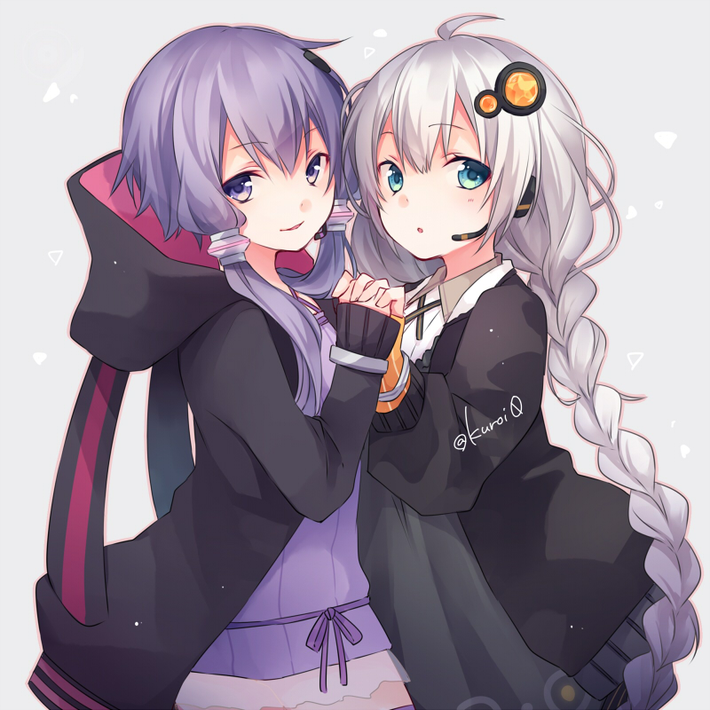 2girls :o bangs black_hoodie black_jacket blush braid commentary_request dress eyebrows_visible_through_hair green_eyes grey_background hair_between_eyes hair_ornament headset heart holding hood hood_down hoodie interlocked_fingers jacket kizuna_akari kuroi_(liar-player) long_hair long_sleeves looking_at_viewer low_twintails multiple_girls open_clothes open_jacket parted_lips purple_dress purple_hair shirt silver_hair sleeves_past_wrists smile strapless strapless_dress tube_dress twintails twitter_username very_long_hair violet_eyes vocaloid voiceroid white_shirt yuzuki_yukari