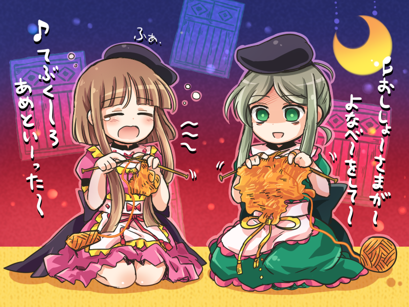 2girls bangs blunt_bangs brown_hair closed_eyes crescent_moon dress empty_eyes failure green_eyes green_hair knitting knitting_needle moon multiple_girls needle nishida_satono pote_(ptkan) short_hair_with_long_locks sidelocks sitting tears teireida_mai touhou translation_request yarn_ball
