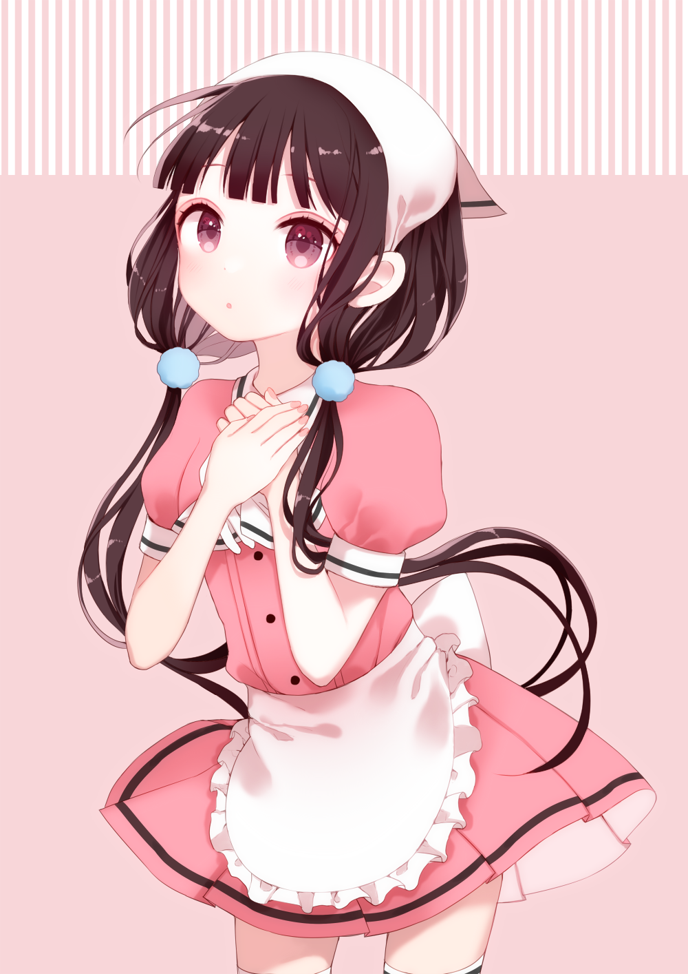 1girl :o apron bangs blend_s blush brown_hair commentary dress gloves gloves_removed hair_ornament hand_on_own_chest head_scarf highres kurashi long_hair looking_at_viewer low_twintails pink_dress pink_eyes puffy_sleeves sakuranomiya_maika short_sleeves solo standing stile_uniform thigh-highs twintails waitress white_legwear zettai_ryouiki