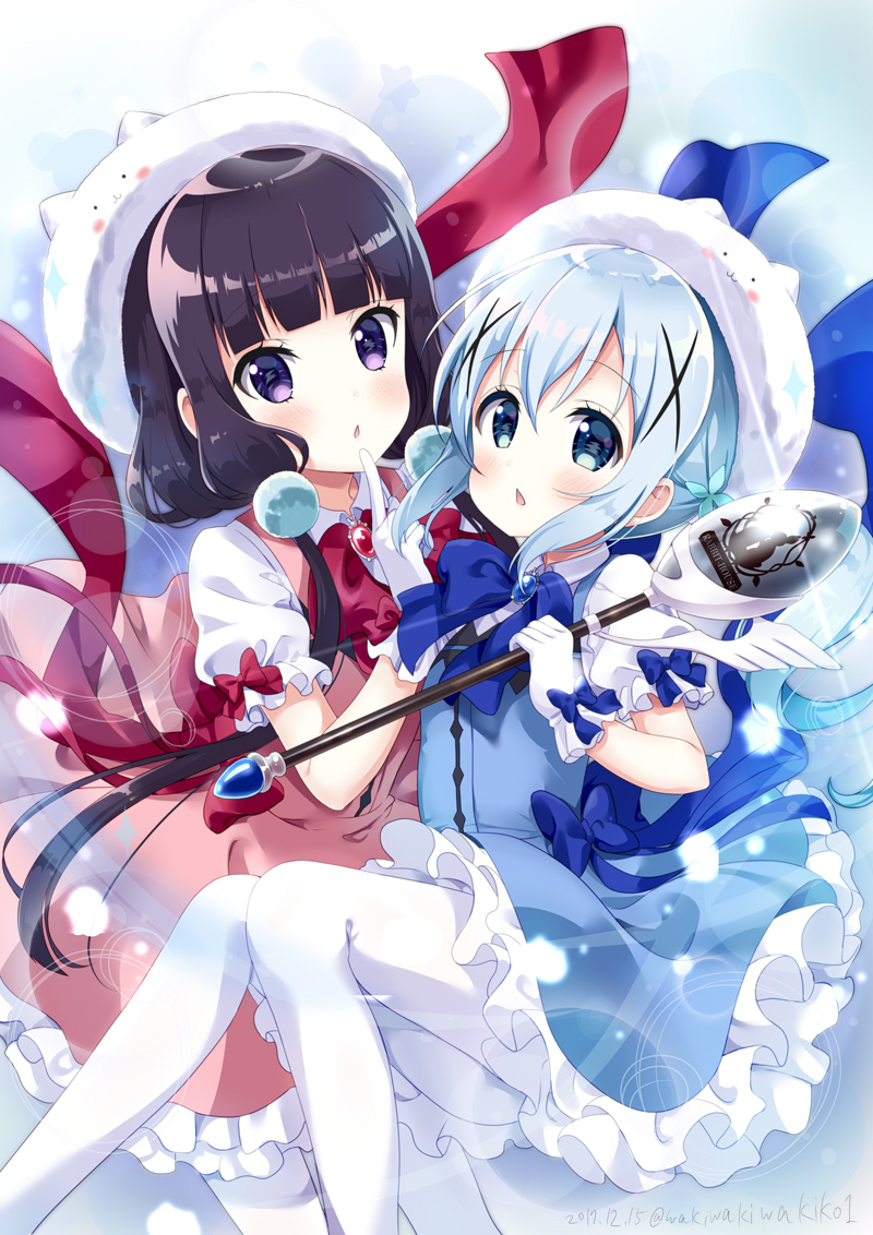 2girls alternate_color bangs blend_s blue_bow blue_eyes blue_hair blue_skirt blue_vest blush bow character_hat chestnut_mouth commentary_request company_connection cosplay eyebrows_visible_through_hair frilled_skirt frills gloves gochuumon_wa_usagi_desu_ka? hair_between_eyes hair_ornament hat holding holding_spoon holding_wand kafuu_chino kafuu_chino_(cosplay) long_hair looking_at_viewer low_twintails magical_girl manga_time_kirara matching_outfit multiple_girls neki_(wakiko) pantyhose parted_lips pink_skirt pink_vest puffy_short_sleeves puffy_sleeves purple_hair sakuranomiya_maika shirt short_sleeves sidelocks skirt tippy_(gochiusa) twintails very_long_hair vest violet_eyes wand white_gloves white_hat white_legwear white_shirt x_hair_ornament
