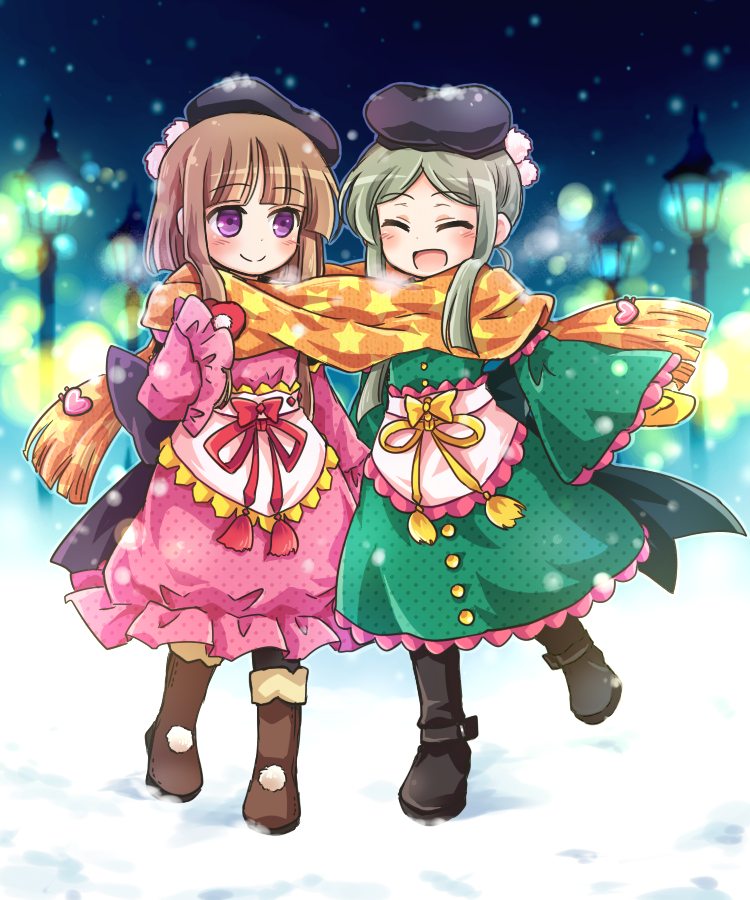 2girls :d ^_^ boots brown_hair closed_eyes commentary_request dress eyebrows_visible_through_hair gloves green_hair hat heart mittens multiple_girls night nishida_satono open_mouth pom_pom_(clothes) pote_(ptkan) print_scarf scarf shared_scarf short_hair_with_long_locks smile snow snowing star star_print tate_eboshi teireida_mai touhou unmoving_pattern violet_eyes wide_sleeves winter yellow_scarf